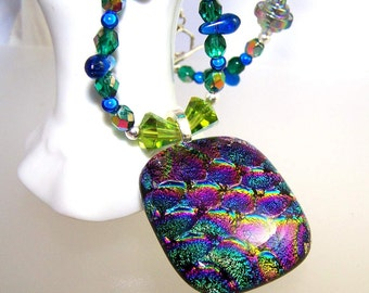 Blue and Purple Bold Large DICHROIC Statement Necklace- Pendant-Focal- Fused Glass