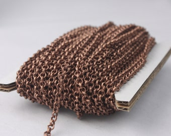 100 feet Antique Copper Rolo Chain SOLDERED Rolo Chain - 3.1mm Soldered Links bulk chain - Ship from California USA