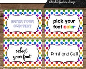 Instant download editable rainbow dots table tents, escort cards, buffet cards, and food labels in simple clean design