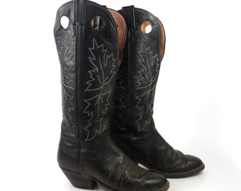 Nocona Cowboy Boots Vintage 1980s Black Tall Men's size 6 D Women's size 7 1/2