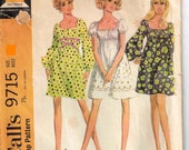 Mod Hippy Mini Peasant Gathered Neckline Dress Sewing Pattern Vintage 1960s  Mccalls 9715 Jr Misses Size 9 Bust 32