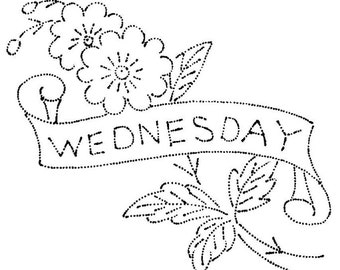 Vintage Hand Embroidery PATTERN  Flowers with Days of the Week Banner for Dish Towels PDF instant download