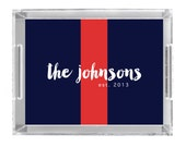 Personalized Lucite Tray - RUGBY STRIPE Collection - you pick colors