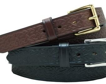 "1 1/2"" Harness Leather Celtic Embossed Belt"