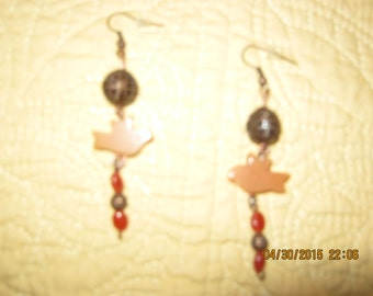 Copper and Carnelian Pierced Earrings with Bird Fetishes