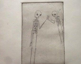 Animated skeleton etching