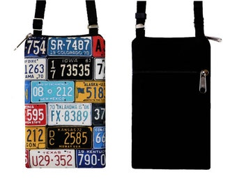 iPhone 6 / Plus Smartphone Purse, Cell Phone Case, Small Cross Body Bag, Old License Plate (MTO)