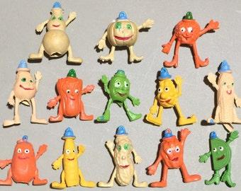 FIVE 1970s Cutie Vegetable Rubber Pencil Toppers