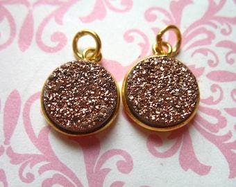 Shop Sale, Druzy Pendant Druzy Charm Drusy Agate, 11 mm, 24k Gold Vermeil, rose gold, wholesale petite round gcp10 gp