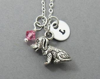 Puppy Dog Necklace - Personalized Handstamp Initial Name, Customized Swarovski crystal birthstone