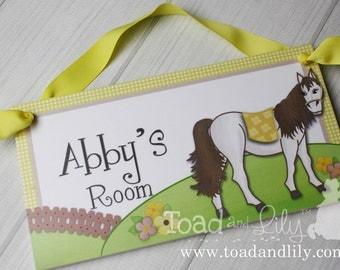 Bright Yellow Horse Pony Bedroom DOOR SIGN Wall Art DS0261 & Bright Construction Truck Boys Bedroom Baby Nursery DOOR SIGN pezcame.com