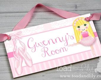 Pretty Dancing Ballerina Ballet Dance Blonde Hair Girl DOOR SIGN Pink Damask Bedroom and Baby Nursery Kids Bedroom Wall Art DS0229