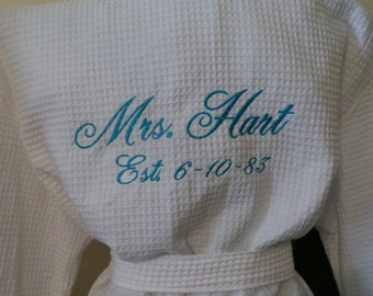 Bride's Robe Personalized on Back with date Mrs. Name with Est. Date Embroidered Short Waffle Weave robe Nice Bridal Gift