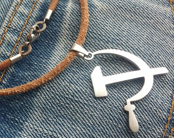 Hammer and sickle - stainless steel pendant on natural leather cord mens or womens necklace