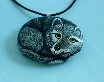 Unique ooak 3D Native American art-Gift for naturalist-Gray Wolf-Yellowstone wildlife-animal jewelry-woodland-painted rocks-pendant necklace