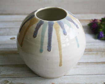 Large White Round Vase With Colorful Drips of Glaze Hand Thrown Stoneware Pottery vase IN STOCK Ready to Ship Made in USA