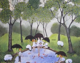 The Forest Floor On A Rainy Day  a small  summer rain sheep Print by Deborah Gregg