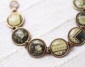 Vintage style link bracelet - Vintage flower bracelet - Shabby Chic bracelet - Bohemian bracelet (BT003)