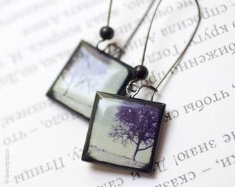 Winter Trees earrings - Black earrings - Winter jewelry  (E029)