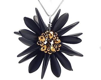 Black and Gold, Flower Pendant, Handmade Pendant, Gift for Her, Beaded Pendant