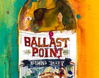 Sculpin IPA  Ballast Point Brewing Co. Beer Watercolor Art Print or Giclee Print as interpreted by D.Rifkin