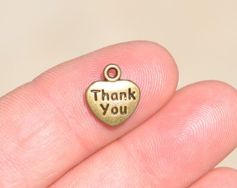 1 Bronze  Heart Shaped, Thank you Charm BC2653