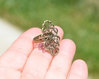 5 Antique Bronze Adjustable Ring Blanks F257