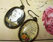 EMILY DICKINSON Memorial Earrings // Oval Images Under Glass // Portrait on one ear, Quotation on the Other, Ox Brass