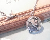 World Locket Necklace Silver Bird Necklace Map Travel Locket Silver Round Locket Silver Map Locket Earth Round Locket Globe Map Jewelry