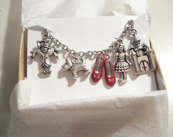 Wizard of Oz Charm Bracelet Silver Charm Bracelet Jewelry Dorothy Red Shoes Toto