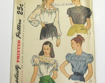 1940s Blouse Pattern: 40s Blouse and Embroidery Transfer Pattern, Simplicity 1671