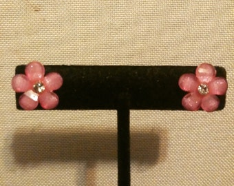 Hot Pink Flower Gem Earrings