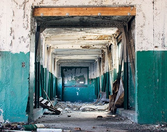 Urban Decay Photography, Abandoned Building Photography, Dark Teal Cream Beige White Decor, Abstract Geometric, Architecture Door Photograph