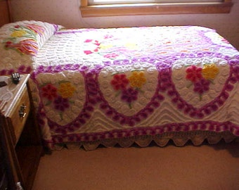 Pretty 1950's peacock chenille bedspread with hearts and flowers- fits a single bed- appx 73 X 96