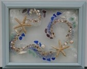 Beach Picture, sterfish, shells, sea glass, sand captured in framed art.