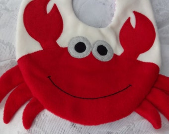 Crab Bib, Infant Baby Bib, Animal Reversible Fleece Bib, Animal Bib, Baby Shower Gift, Baby Bib, Newborn Gift, Newborn Toddler Bib