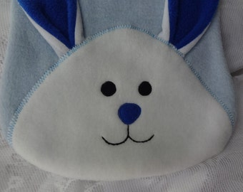 Bunny Bib, Infant Baby Bib, Animal Reversible Fleece Bib, Animal Bib, Baby Shower Gift, Baby Bib, Blue Bunny Bib, Newborn Gift, Newborn Bib