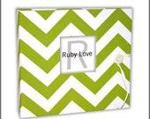 Lime Green Chevron Stripe Album   Ruby Love Modern Baby Memory Book