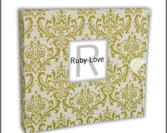 BABY BOOK |  Vintage Olive Green Damask Baby Book | Baby Memory Book