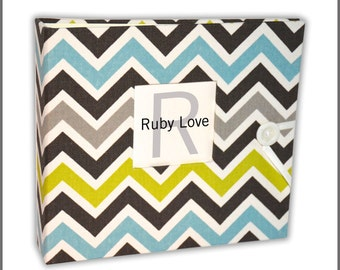 Blue and Green Chevron Stripe Baby Book | Ruby Love Modern Baby Memory Book