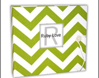BABY BOOK | Lime Green Chevron Stripe Album | Ruby Love Modern Baby Memory Book