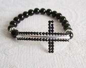 Black Crystal Cross Stretch Bracelet
