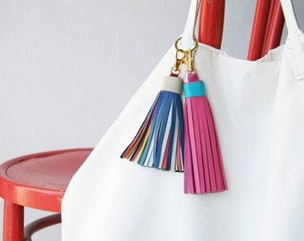 Large Leather Tassel with gold Lobster Clasp and Split ring Bag Charm Gifts for Her
