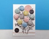 Block Printed Magnets // Fabric Covered Button Magnet Gift Set // Fridge Magents : SALE