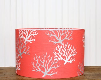 SALE - Coral Drum Shade - Lampshade - Lamp Shade - Pendant Shade -Nautical Drum Shade - Modern Lamp Shade -Salmon - Coral and White