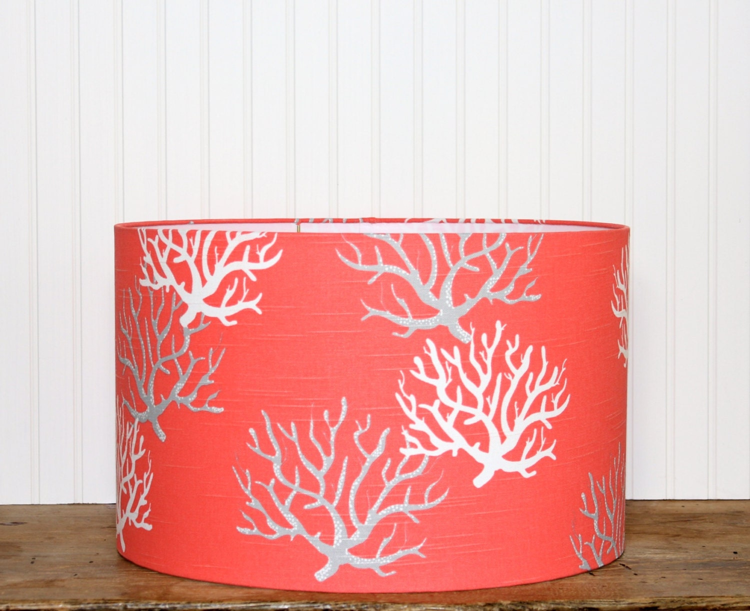 coral drum shade lampshade lamp shade pendant by sassyshades. Black Bedroom Furniture Sets. Home Design Ideas