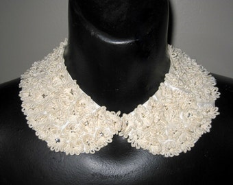 Satin Collar with Rhinestones Embedded in White Flowers/Lace Collar/60s Collar