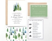 In The Woods Wedding Invitation Collection, Watercolor Trees, Green and Blue, Colorado and Lake Tahoe