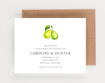 Two of a Pair Save The Date, Two Watercolor Pears, Wedding Announcement or Bridal Shower