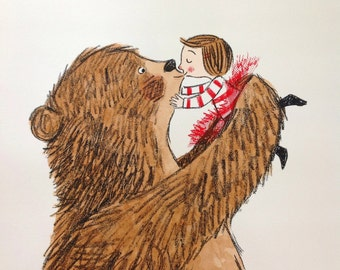 A Bear kiss, screenprint and hand water coloured original artwork